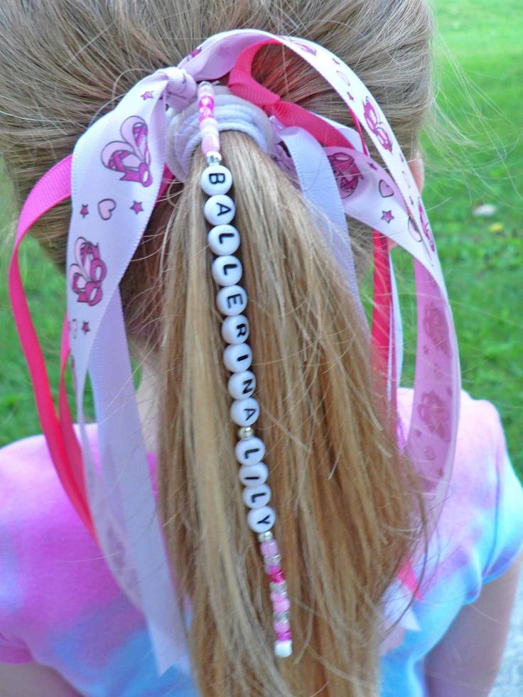 Ballerina Ribbon Personalized Name Ponytail Holder Hair