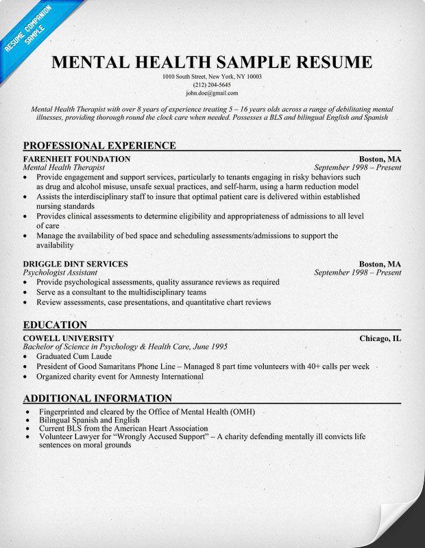mental health professional resume sample