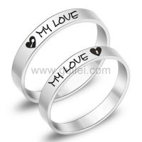 Engraved Titanium Promise Anniversary Couples Rings Set ...