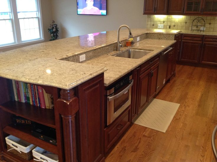 Kitchen Islands With Dishwasher A 12' Island Contains The Sink, Dishwasher And Microwave