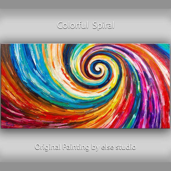 Famous Paintings Wallpaper Iphone Original Spiral Art Painting Huge Impasto Texture Modern