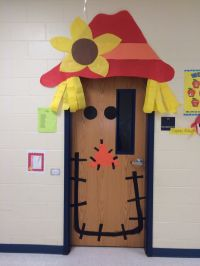 Fall scarecrow door I made for another teacher! Real cute ...