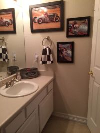 Teen boy bathroom. Vintage Race Car theme. Checkered flag ...