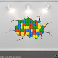 lego-themed decor Lego Bricks Full Colour Wall Art Sticker ...