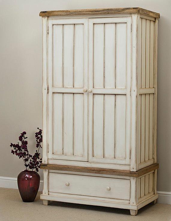White Wardrobe With Wood Trim Bedroom Furniture