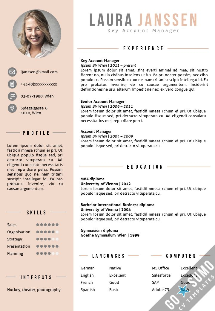 template indesign cc cv