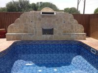 Waterfall and fireplace Pool Time Lubbock | Pools | Pinterest