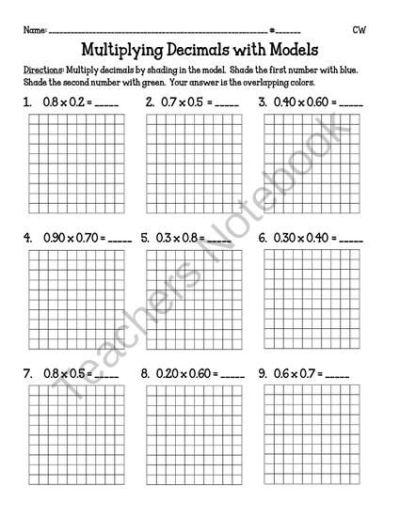 Multiplying Decimals with Models (5.NBT7) from Miss Cherritt's Shop on TeachersNotebook.com - (5 ...