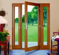 three panel glass doors with side panels that open ...