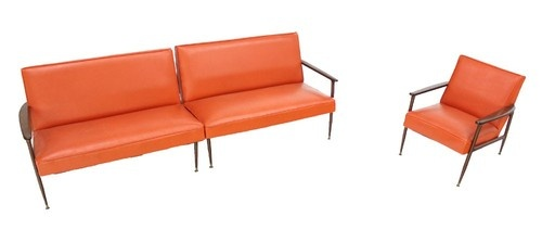 Retro Orange Vinyl Sofa Mid Century Modern Sectional Vintage Orange Vinyl Sofa And