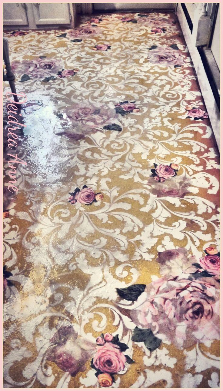 vintage lineoleum linoleum kitchen flooring reloved stenciled decoupaged glitter floor This was icky vinyl linoleum flooring