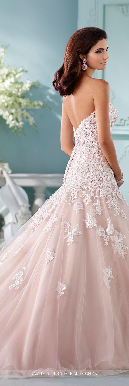 blush pink wedding dress wedding dresses pink Strapless A Line Gown Wedding Dress Kalapini David Tutera