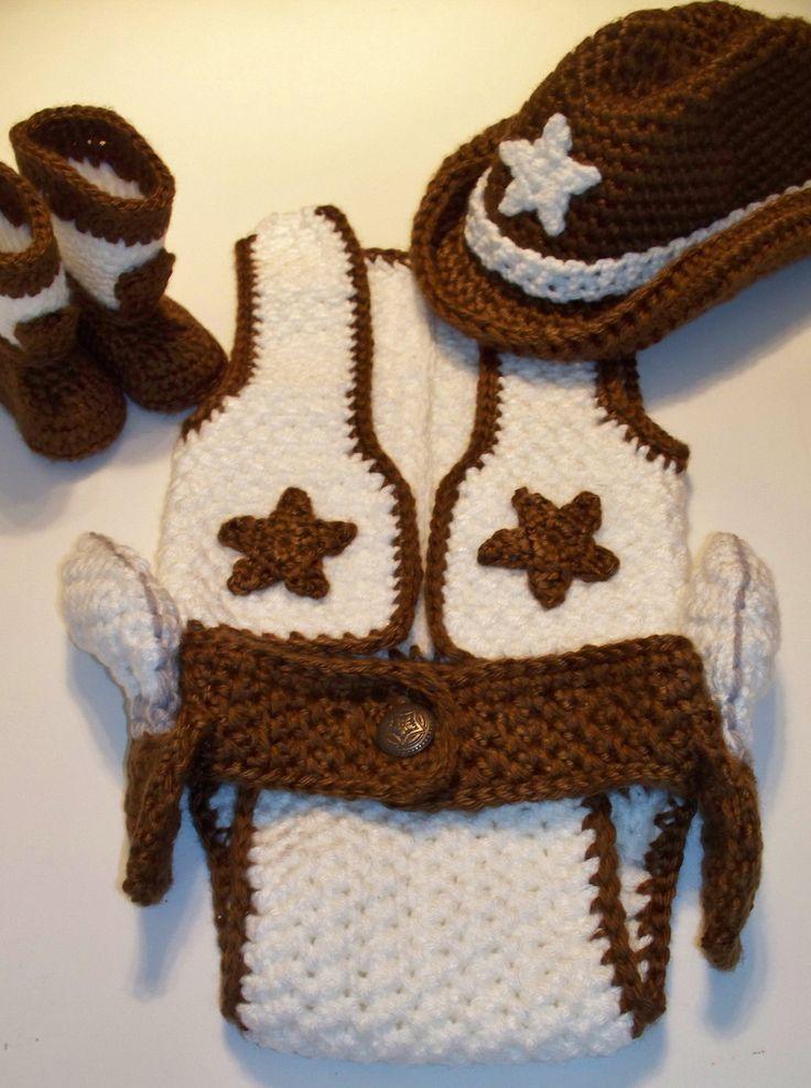 One Of Kind 4 Piece Cowboy Girl Set Crochet Unique