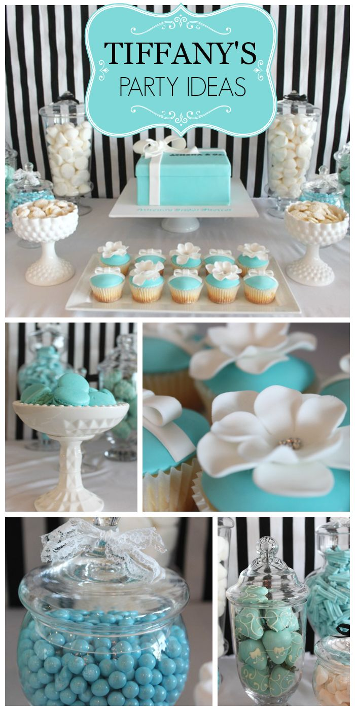 tiffany blue party party city wedding A lovely robin s egg blue Tiffany s bridal shower with pretty party decorations and cupcakes See