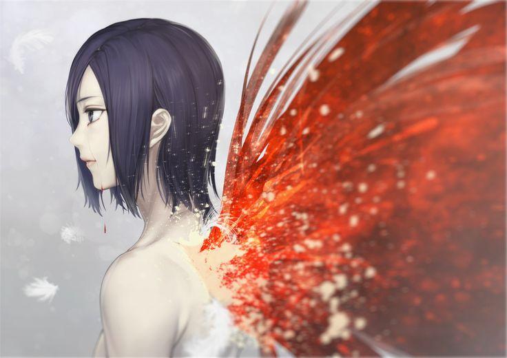 Sad Girl Photo Wallpaper Anime Tokyo Ghoul Touka Kirishima Wings Blood Crying