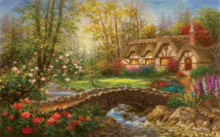 4k Fall Painting Wallpapers Country Home Bridges Jigsaw Puzzle Cottage Pinterest