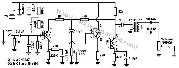 jimi hendrix fuzz face pedal circuit diagram