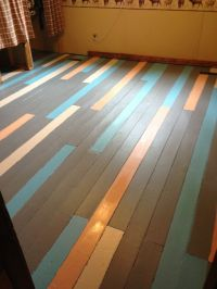 Painted wood floors...this is a cute idea (different ...