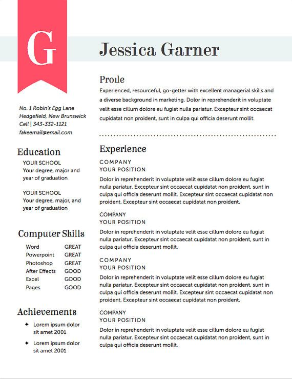 Free Sample Resume Template Cover Letter And Resume Resume Template The Garner Resume Design Instant