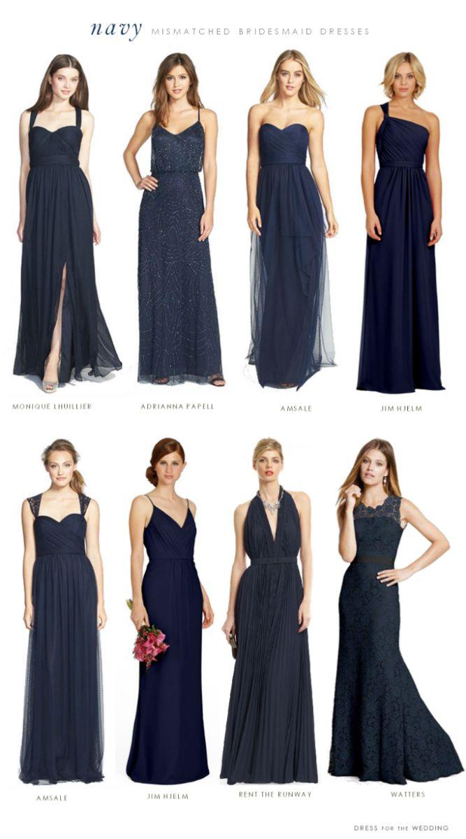 navy blue bridesmaid dresses navy wedding dress Mismatched Bridesmaid Dresses in Navy Blue