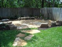 Backyard landscape - large flagstone patio in decomposed ...