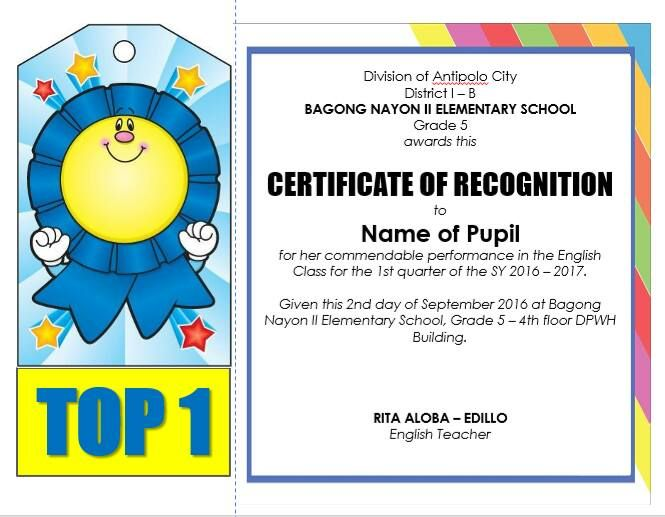 sample citation for certificate of recognition