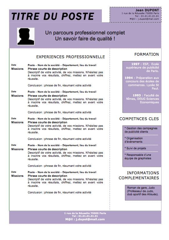 template cv ingenieur