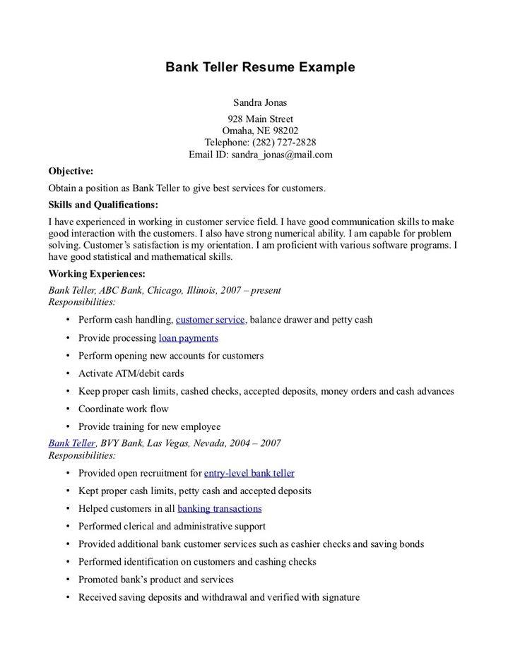 objective for teller resume