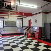 Small Nice Looking Garage Design With Black And White Tile ...