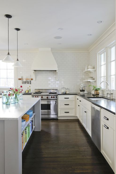 L Shaped Kitchen Cabinet Designs Black And White Kitchen Design With White Shaker Cabinets