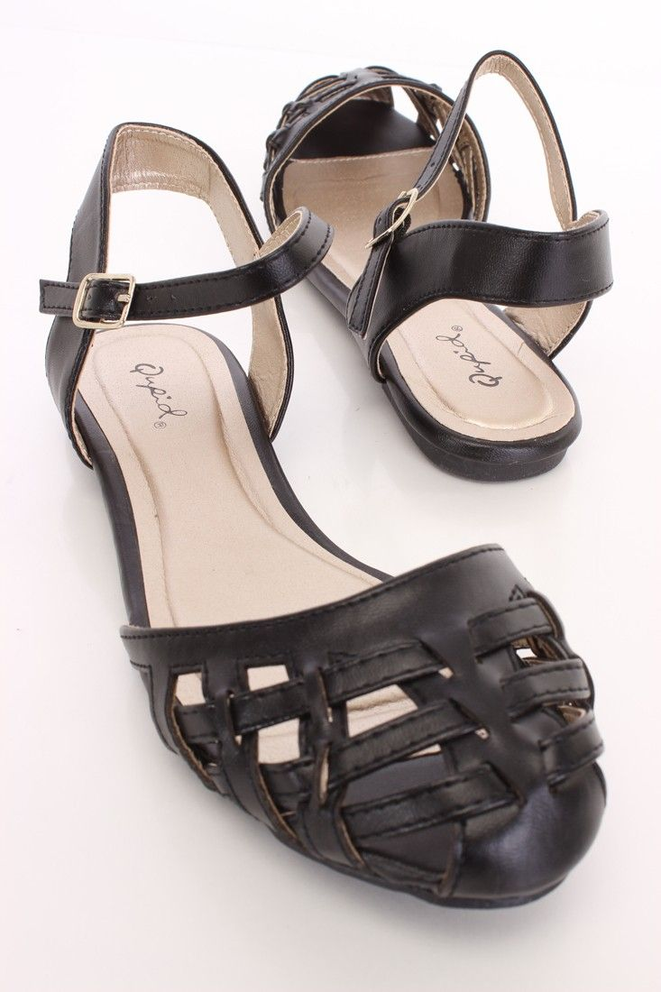 Black caged closed toe sandals faux leather