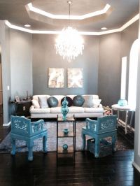 Blue gray turquoise living room | Treasures in the home ...