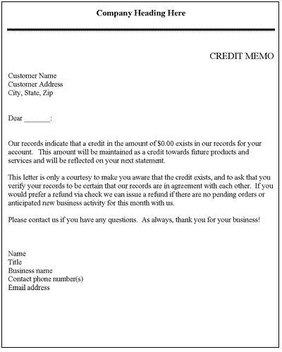 credit note sample format templatebillybullock - sample credit memo