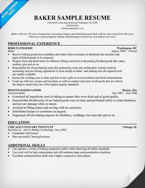 cook baker resume sample
