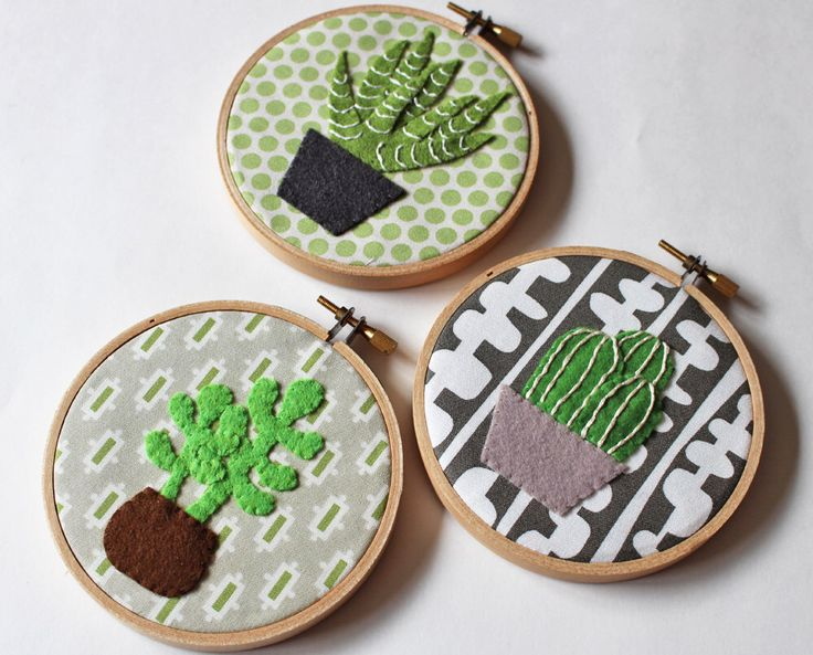 Cactus Wall Art Embroidery Hoop Home Decor Cacti