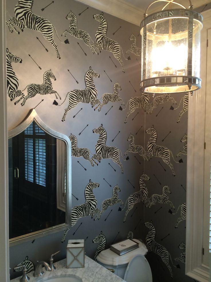 Black Trellis Wallpaper Silver Jumping Zebra Scalamandre Wallpaper Interior Design