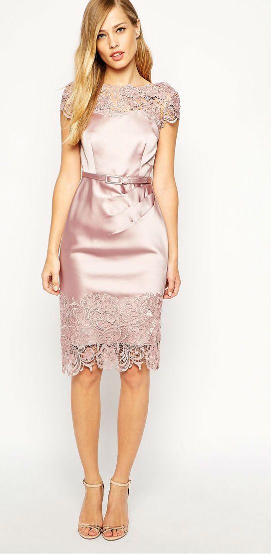 Pink satin + lace dress bridesmaid dress or rehearsal