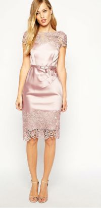 Pink satin + lace dress bridesmaid dress or rehearsal