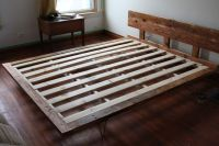 Reclaimed wood bed frame with steel hairpin legs over at ...