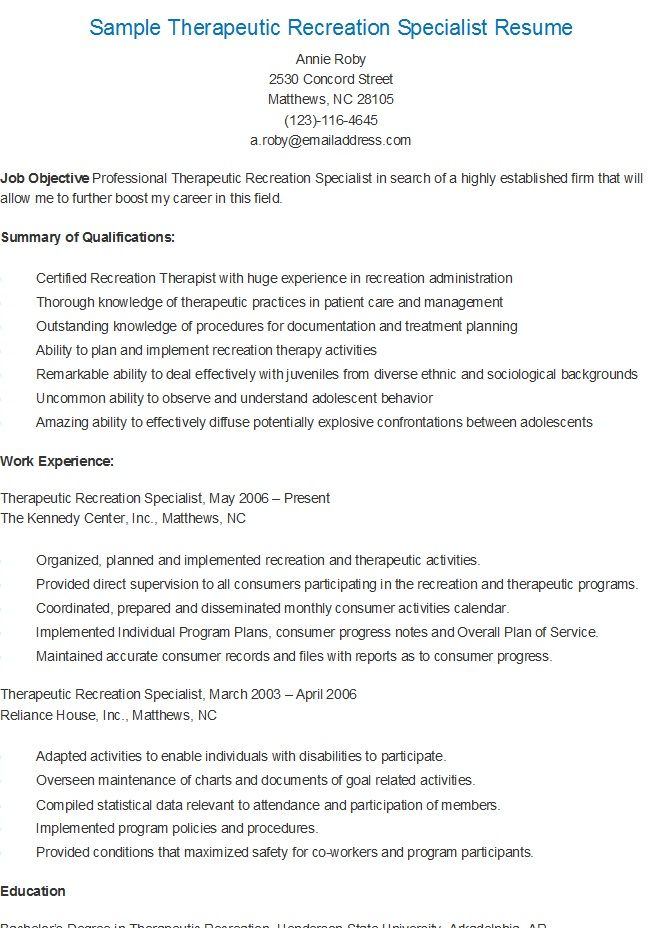 Outstanding Therapeutic Recreation Specialist Resume Photo - Entry