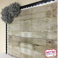 Love this bulletin board with WOOD PAPER! So cool & rustic ...