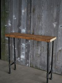 4 ft Industrial Console table with pipe legs and hanging ...