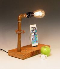 dock for ANY iPhone AND table lamp. Recycled wood & copper ...
