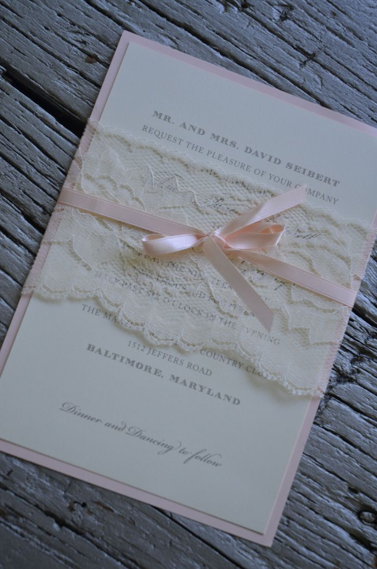 Wedding Invitation Zola Lace Belly Band Around Wedding Invitation With Satin