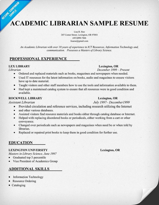 sample resume for an academic librarian