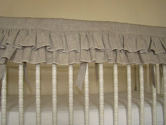 Ruffled Oatmeal Linen Bumperless Crib Bedding Teething