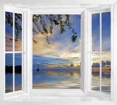 Tropical window murals - WIM157 - Sunset At Jeremi Beach ...