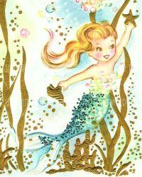 Vintage Mermaid Background