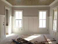 pine tongue and groove ceiling with 5' tall wainscoting I ...