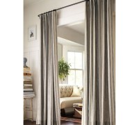 curtain as bathroom door (since the master bath has no ...
